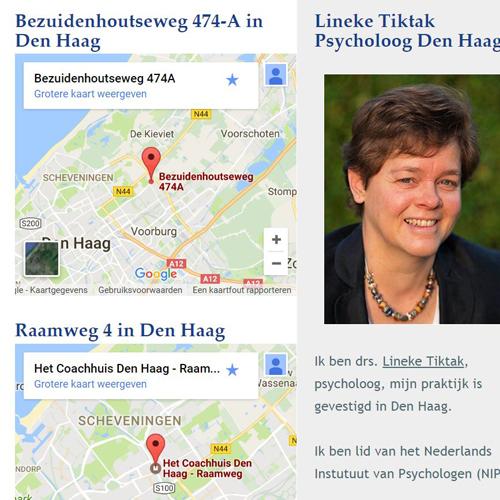 Realisatie website psycholoog Lineke Tiktak